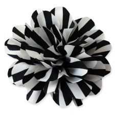 10cm Stripey BLACK & WHITE Fabric Flower Applique